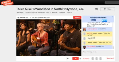 video still from webcast on Concert Window of Tracy Newman and The Reinforcements at Kulak's Woodshed - 8 august 2015 - shows web viewers donations