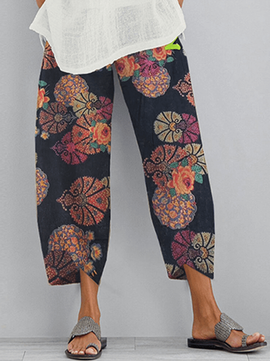 Flower Print Pockets Casual Women Lounge Elastic Waist Pants