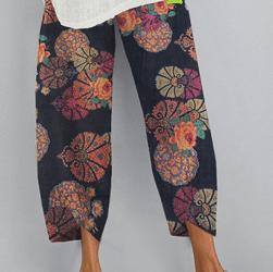 Flower Print Pockets Casual Women Lounge Elastic Waist Pants