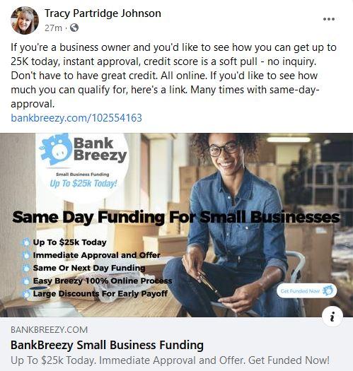Bank Breezy FB Post Ad