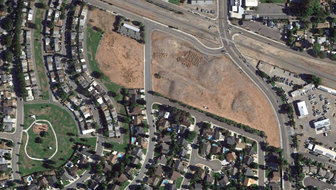 Google Earth view of Tracy oil depot site (2013)