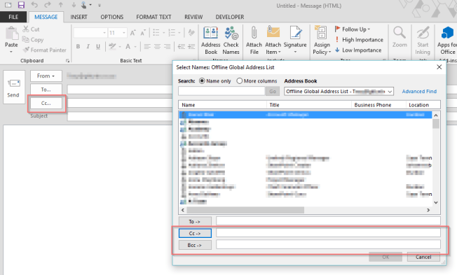 BCC and CC In Outlook