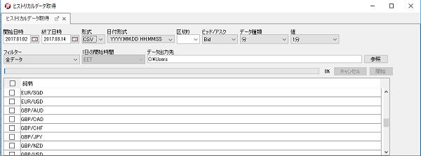 ヒストリカルデータの取得画面
