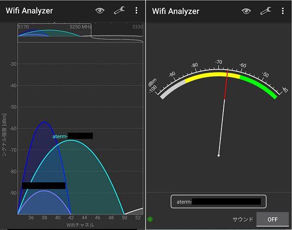 wifi-analyzerの測定画面