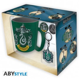 "HARRY POTTER - Tazza Pck + portachiavi + badge ""Serpeverde"""