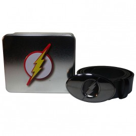 DC COMICS - Flash Logo Buckle Belt In A Tin