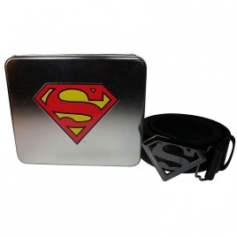 DC COMICS - Superman Logo Buckle Belt In A Tin