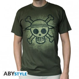 "ONE PIECE - Tshirt ""Skull with map Used"" uomo SS kaki - basic"