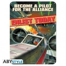 """STAR WARS - Placca di metallo """"Diventa un pilota"""" (28x38)"""
