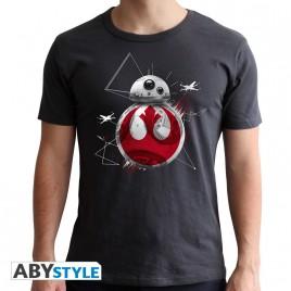 """STAR WARS - Tshirt """"BB8 E8"""" uomo SS grigio scuro - nuova vestibilità"""