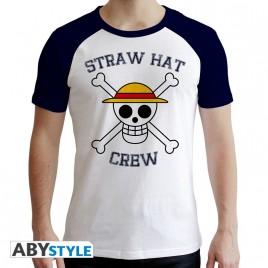 "ONE PIECE - Tshirt ""Skull"" uomo SS bianco e blu - premium"