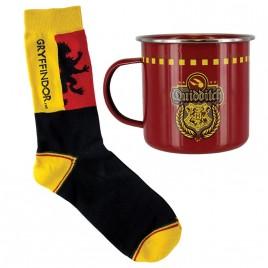 HARRY POTTER - Set di tazze e calze in stagno di Quidditch di Grifondoro