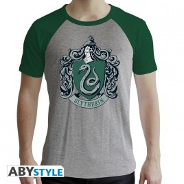 "HARRY POTTER - Tshirt ""Serpeverde"" uomo SS grigio e verde - premium"