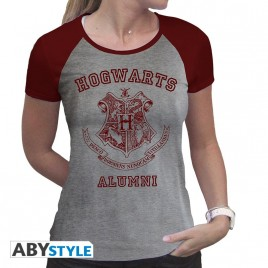 """HARRY POTTER - Tshirt """"Alumni"""" donna SS grigio e rosso - premium"""