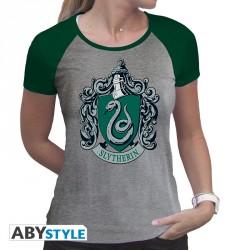 "HARRY POTTER - Tshirt ""Serpeverde"" donna SS grigio e verde - premium"