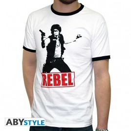 "STAR WARS - Tshirt ""Han Solo Rebel"" uomo SS bianco - moda *"