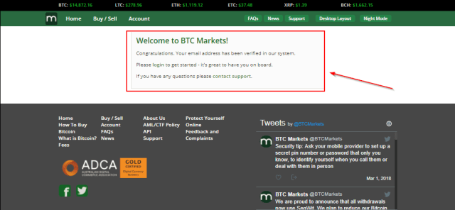 Redirect to verification message for BTC Markets