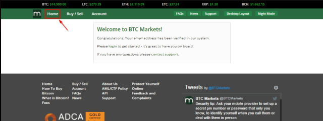 Click on home for BTC Markets