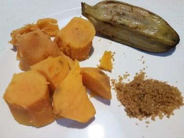 Boiled sweet potatoes & banana saba