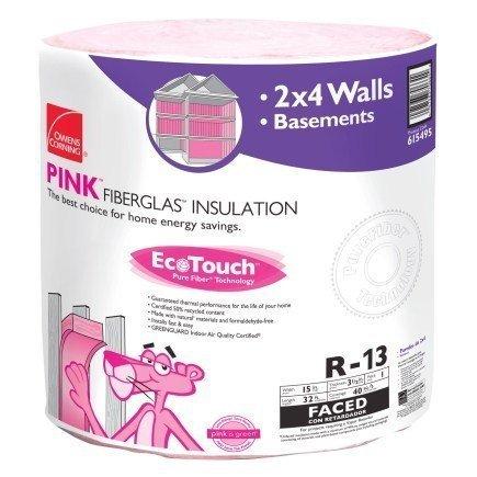 A roll of pink fiberglass insulation