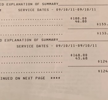 A hospital bill listing out charges for various services