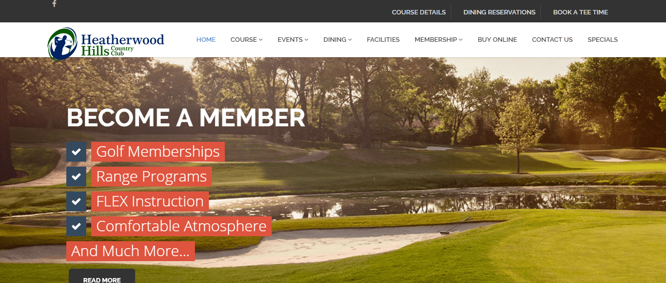 Heatherwood Hills Country Club Website