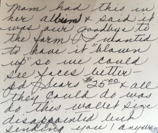 Flo's note on the back of the photo
