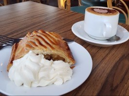 Delicious apple strudel from the German Cake Shop. With cream, of course.