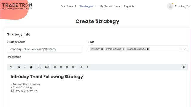 Create Tradetron Strategy 3