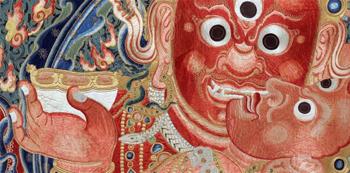 Tibetan painting Skull Cup