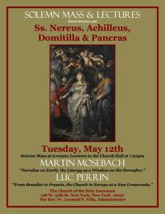 HI Flyer _ Mass and Talk For the Feast of Saints Nereus Archilleus Domitilla and Pancras