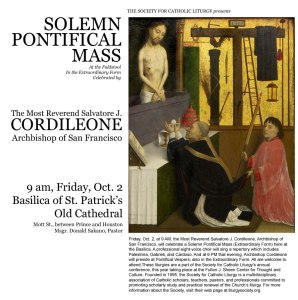 Pontifical-Mass and Vespers At Old Saint Pats Basilica Oct 2015