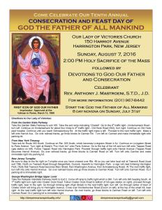 God The Father - August 7th 2016 OL of Victory - Harrington Park, NJ