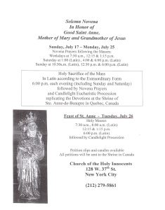 Novena To Saint Anne - Starting July 17th At Holy Innocents