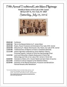 Our Lady of Mount Carmel NY -5th Anual - Day Of Pilgrimage - Flyer of Activities 2016