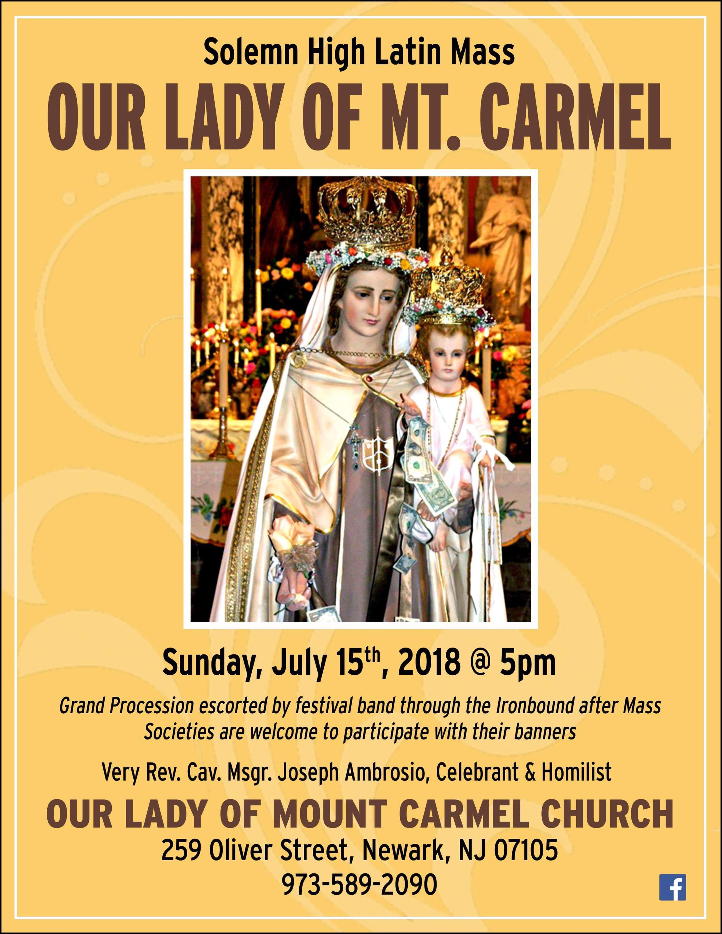 Feast Of Our Lady Of Mount Carmel NYC 2018 | Traditional Catholics