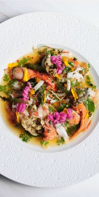 Andaman-sea-lobster-lemongrass-young-ginger-kaffir-lime-juice-mandarin-juice-buzz-button-flowers-young-coconut-crispy-fish-skin.
