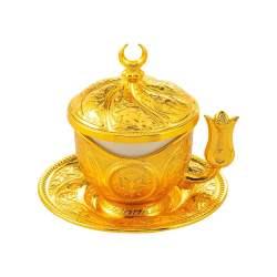 Tiryaki Gold Color Turkish Coffee - Espresso Set For Two Person