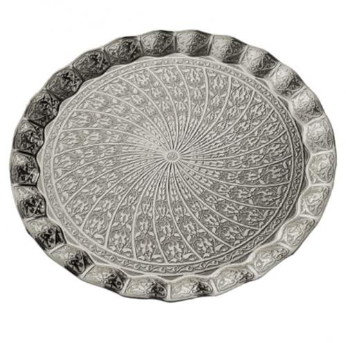 Silver Color Ottoman Style Round Tray
