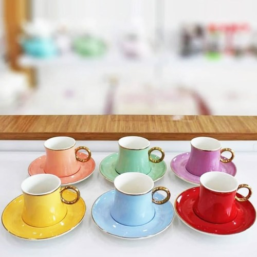 Colorfull Porcelain Turkish Coffee Cup Set