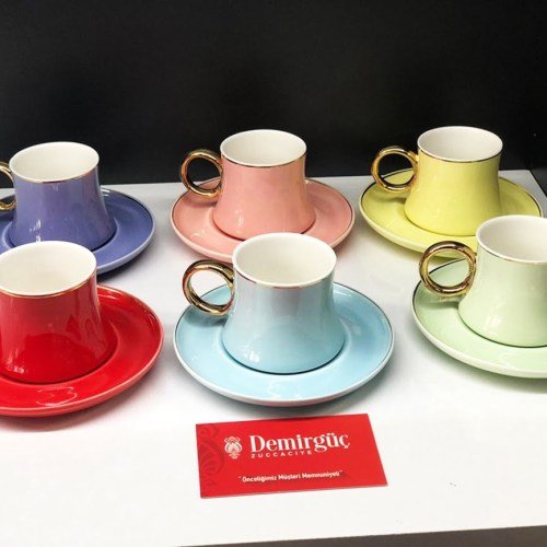 Colorfull Porcelain Coffee Set For Six