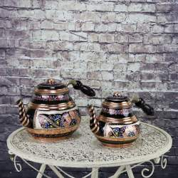 Handmade Original Copper Turkish Tea Pot Kettle With Wood Handle