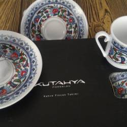 Turkish Coffee Cup Set Kütahya Porcelain for Four