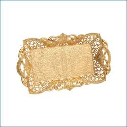 Gold Color Rectangle Serving Tray