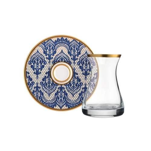 12 Pcs Mirage Blue Original Crystal Luxury Tea Set