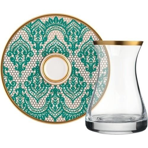 12 Pcs Mirage Green Original Crystal Luxury Tea Set