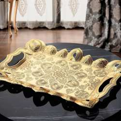 Gold Color Authentic Turkish Serving Tray