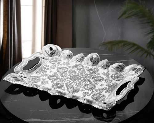Silver Color Authentic Turkish Serving Tray