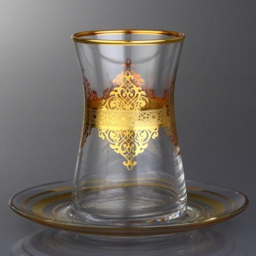 6x Gold Color Arabic Tea Glasses Set With Saucers