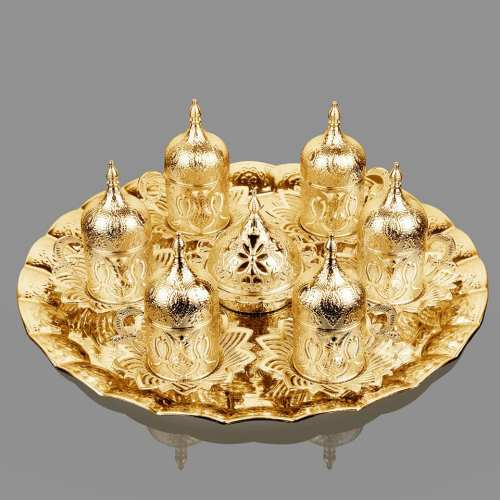 Gold Color Tulip Design Coffee Set For Six Person